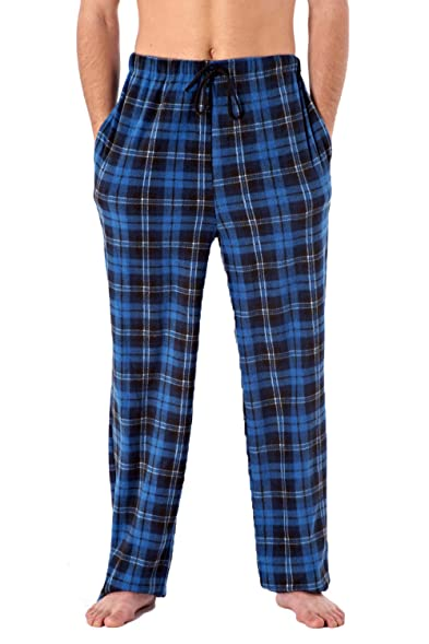 Harvey James Mens Checked Pyjama Lounge Pants - Blue Check - X-Large