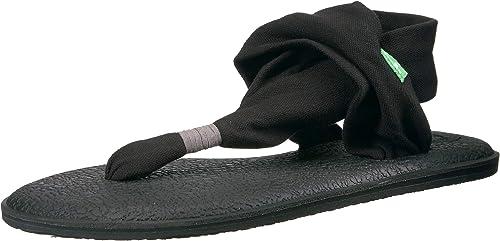 Sanuk Damen Yoga Sling#2 Prints Zehentrenner, schwarzweiß, Large
