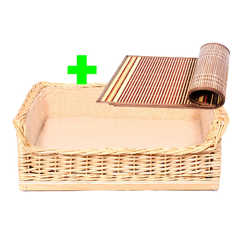 B X-Large B X-Large Rattan Kennel Medium-sized Dog Solid Wood Home Nest Small Dog Pet Nest Dog Bed Bamboo Knit Doghouse,B-XL