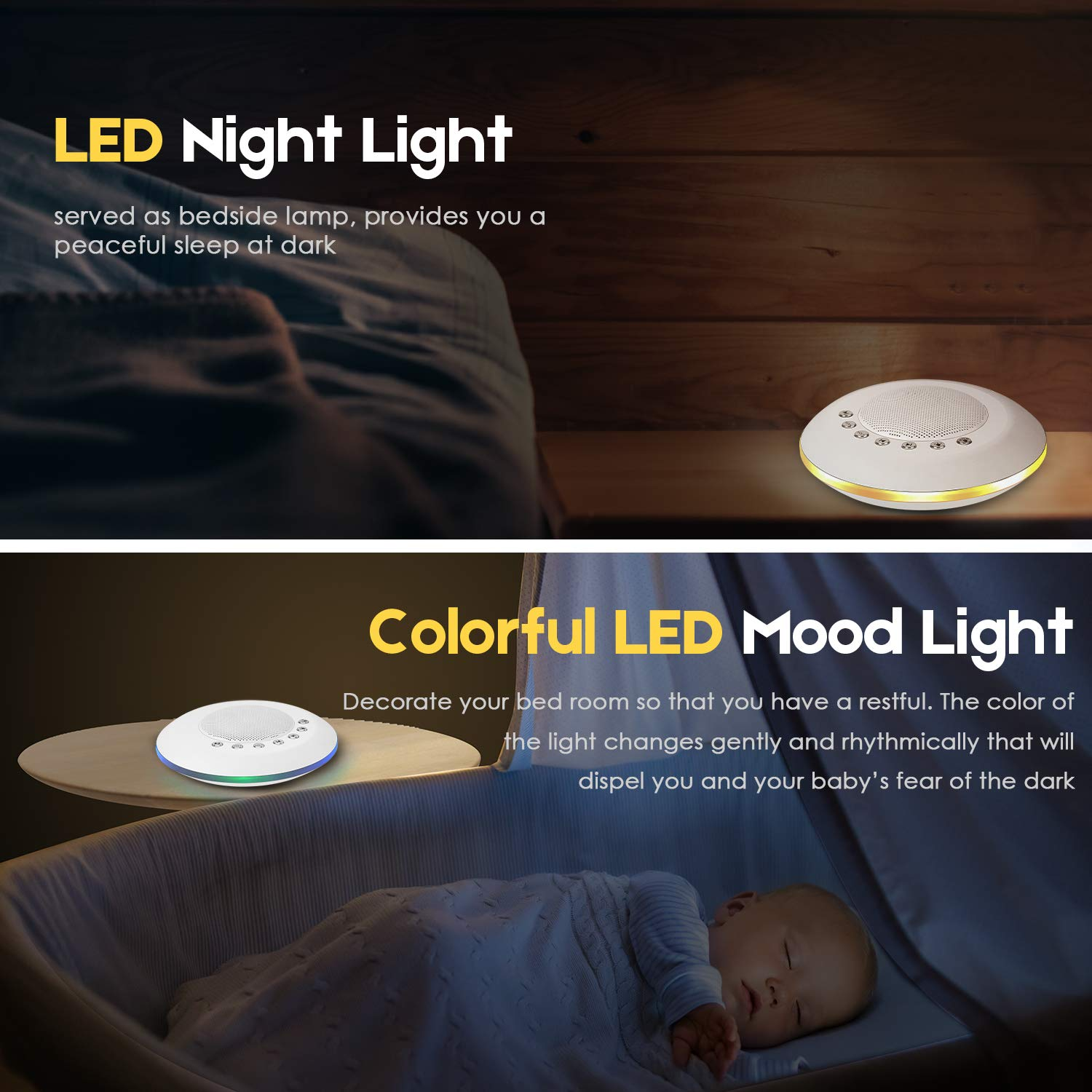 Sound Machine - White Noise Machine for Sleeping, with LED Colorful Night Light 20 Soothing HiFi Sounds, Continuous or Timer, Rechargeable Battery or USB Output Charger by EliveBuy (Image #3)