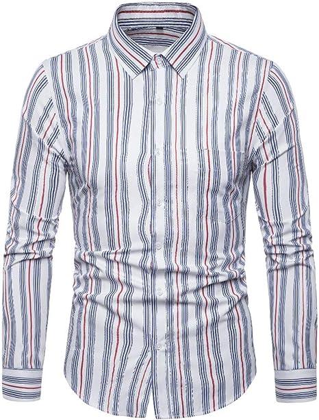 HCFKJ Camisetas Hombre Hombres Rayas Empalme Bolsillo Manga Larga Camisa Moda Blusa De Manga Larga Top: Amazon.es: Ropa y accesorios