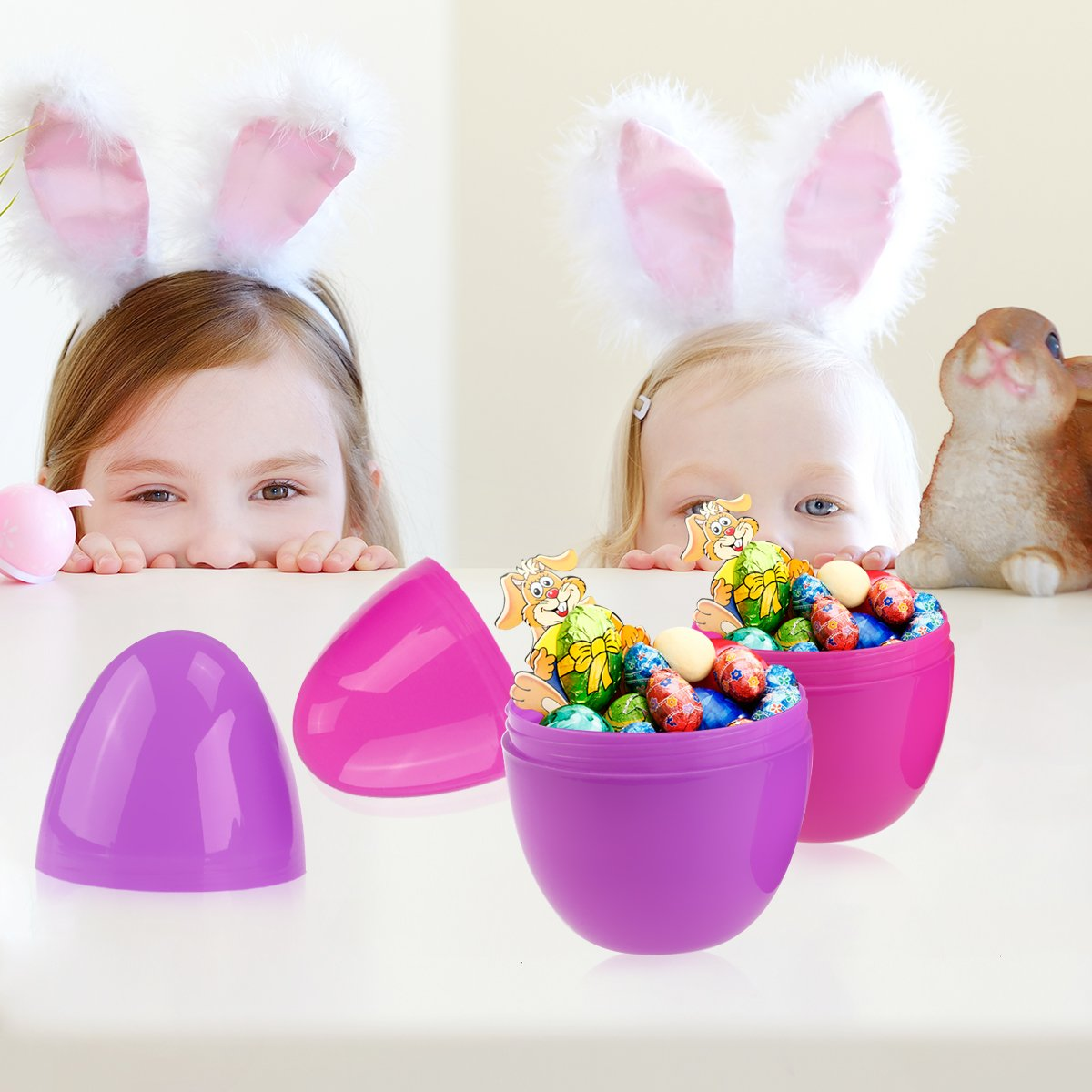Unomor Jumbo Plastic Easter Egg Containers Pack of 12 Assorted Colors