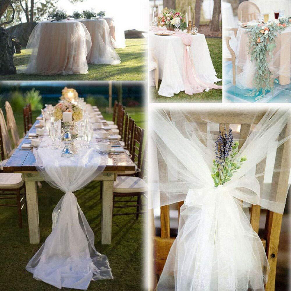 per Matrimoni 25 m x 29 cm tavoli e Feste Champagne sedie Fiocchi Rotolo di Organza Trasparente EliteKoopers