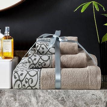 3 piezas Juego de toallas Hotel de lujo y Spa toallas de baño de algodón suave muy ...