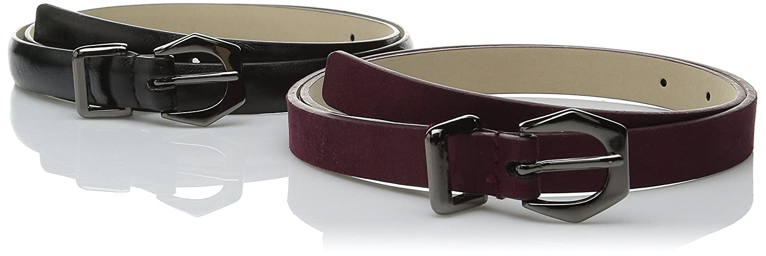 Steve Madden Women's Glazed and Faux Suede Two-For-One Belt