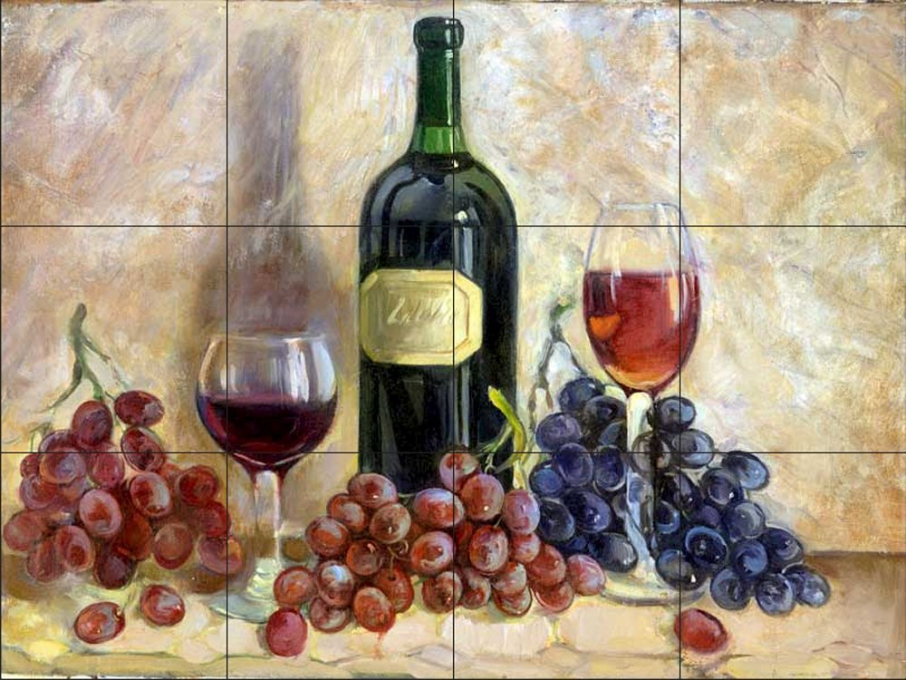 Ceramic Tile Mural - Wine and Grapes - by Theresa Kasun - Kitchen backsplash/Bathroom Shower