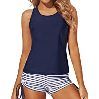 Yonique 3 Piece Tankini Swimsuits for Women Athletic Swim Tank Top with Shorts and Bra V Neck Bikini Bathing Suits