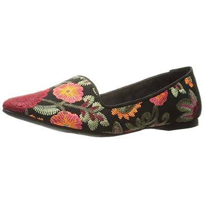 MIA Women's Cadley Pointed Toe Flat, Black Flores, 6 M US | Flats