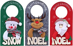 MJEMS 3-Pack Christmas Door Hanging Pendants, Xmas Tree Hanger Decorations for Home Hotel Door Hanger Board Doorknob