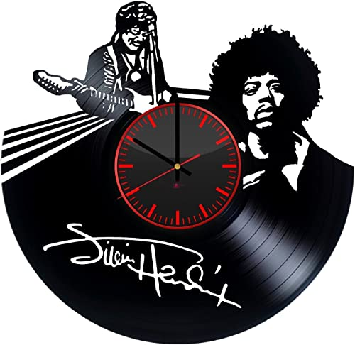 Jimi Hendrix Handmade Vinyl Record Wall Clock – Get unique living room or home room wall decor – Gift ideas for friends, men and boys Rock Music Unique Modern Art Design