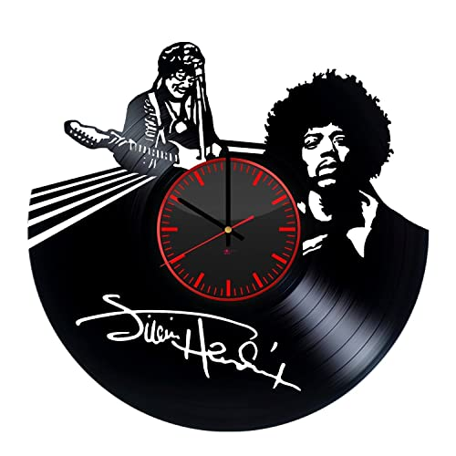 Jimi Hendrix Handmade Vinyl Record Wall Clock – Get unique living room or home room wall decor – Gift ideas for friends, men and boys Rock Music Unique Modern Art Design