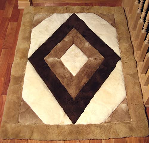 SoftRugs Rhombus Design 4-Feet by 5-Feet 4-Inch Alpaca Rug