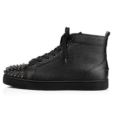 b927df7daff Christian Louboutin Lou Spikes Flat Calf Graine High Top - Black 40 EUR   Amazon.co.uk  Shoes   Bags