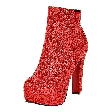 bb6609fa23d84b AIYOUMEI Damen Glitzer Blockabsatz High Heels Plateau Stiefeletten mit 12  cm Absatz Modern Party Winter Schuhe