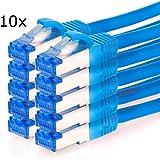 TPFNet (10 Pièces) 0,25m (mètres) Cat.6A - Cat6A Premium Quality Cordon patch RJ45 - Câble Ethernet - Câble Réseau - câble raccordement rj45 ethernet réseau - LAN - Patch - Câble Réseau Gigabit - LAN Câble - Cable Ethernet avec antiflambage bleu (RJ45, Cat 6A, double blindage avec 2 prises Twisted Pair, S/FTP (PIMF), sans halogène, convient aux réseaux de 10/100/1000/10000 Mo/s)