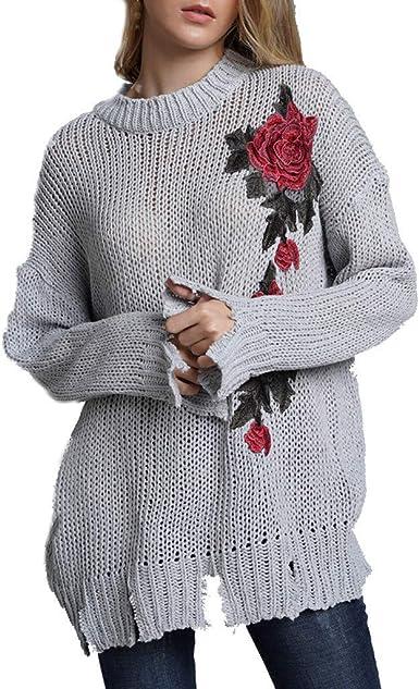 Poacher Jersey Mujer Manga Larga Degradado Bordado Camisa Jersey Mujer Tallas Grandes Invierno Jerseys Mujer Invierno Cuello Alto Jersey Mujer otoño Jersey Punto Mujer Invierno Cuello Alto: Amazon.es: Ropa y accesorios