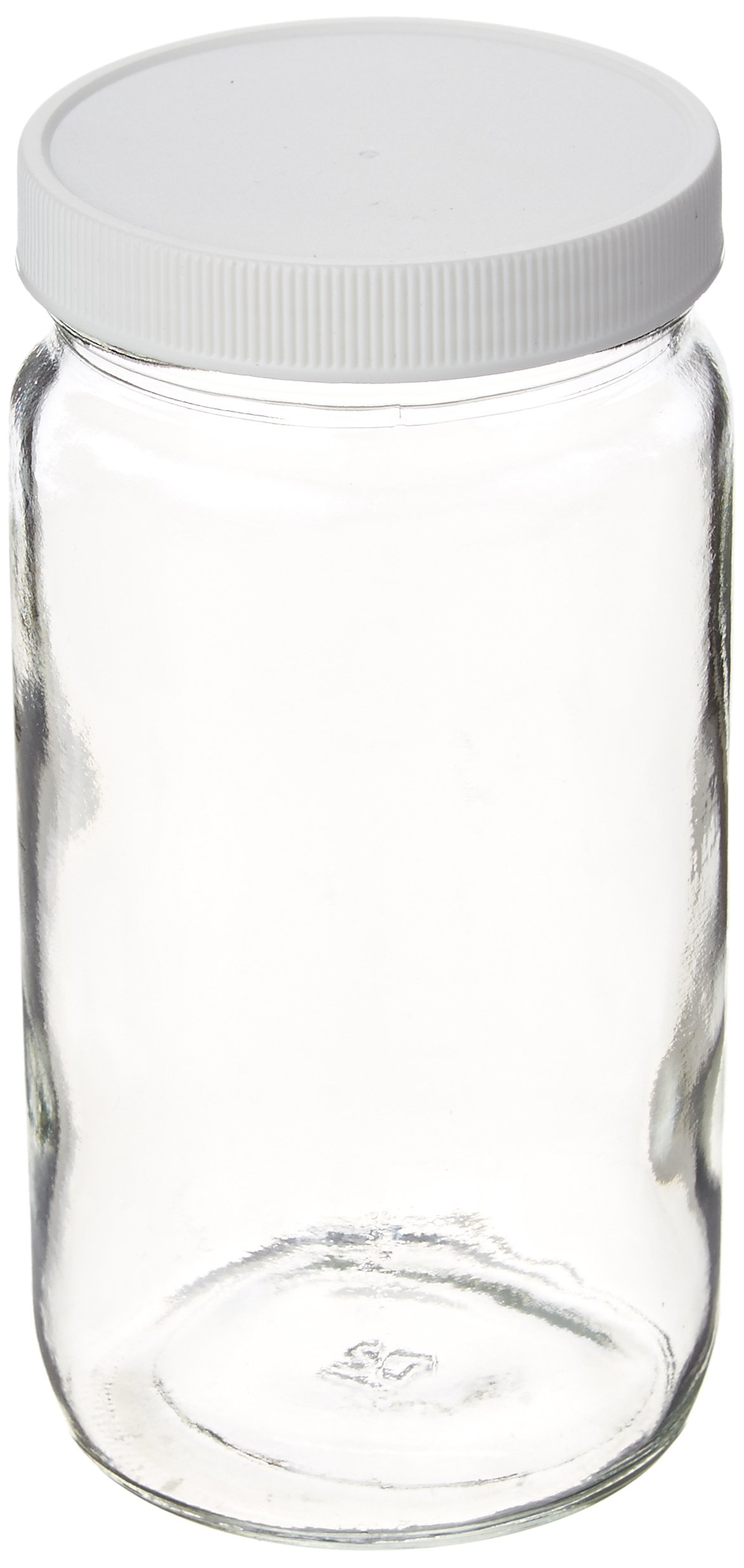 JG Finneran 9-192-2 Clear Borosilicate Glass Precleaned Tall Straight Sided Wide Mouth Jar with White Polypropylene Closure and 0.015'' PTFE Lined, 70-400mm Cap Size, 500mL Capacity (Pack of 12)