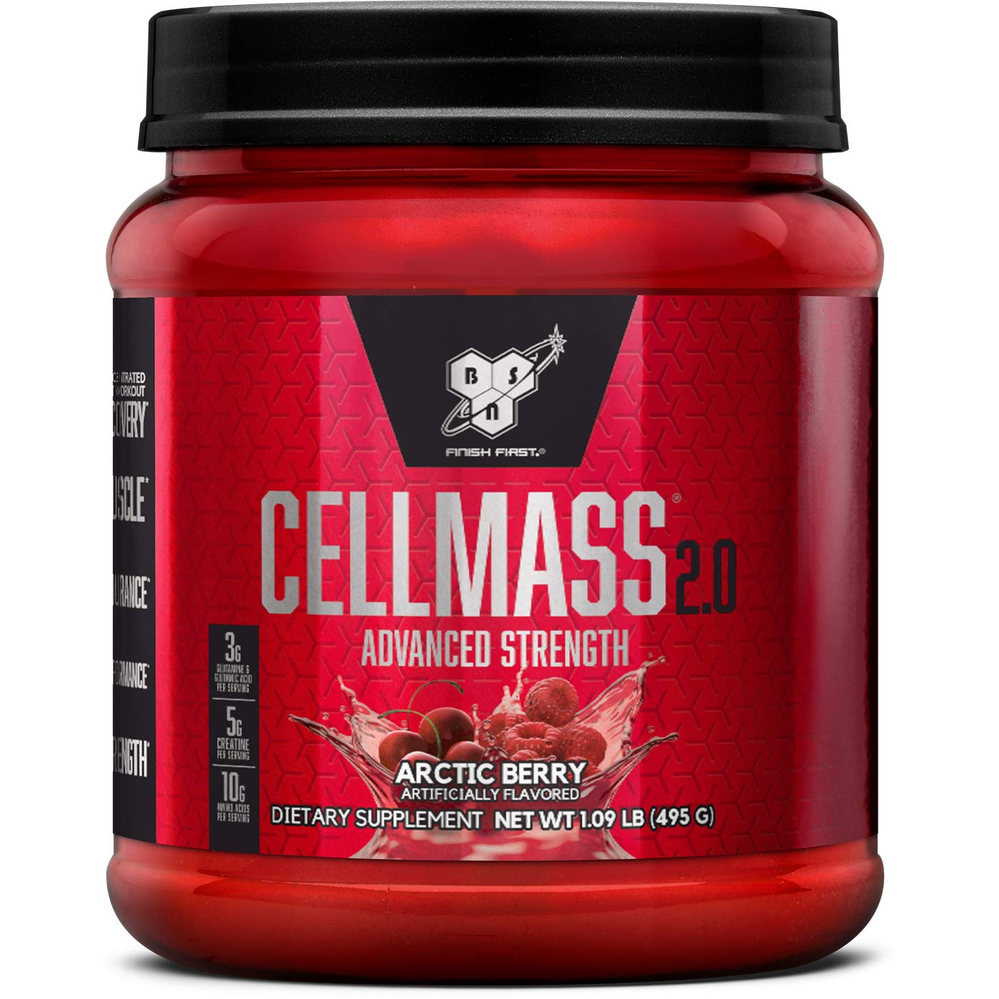 BSN CELLMASS 2.0 Post Workout Recovery with BCAA, Creatine, & Glutamine - Keto Friendly - Arctic Berry, (50 Servings) by BSN