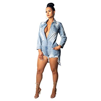 826a156ce05 Amazon.com  Denim Jumpsuits for Women Sexy Long Sleeve Plus Size Rompers  Long Pants high Waisted Jeans Stretchy Shorts Casual  Clothing