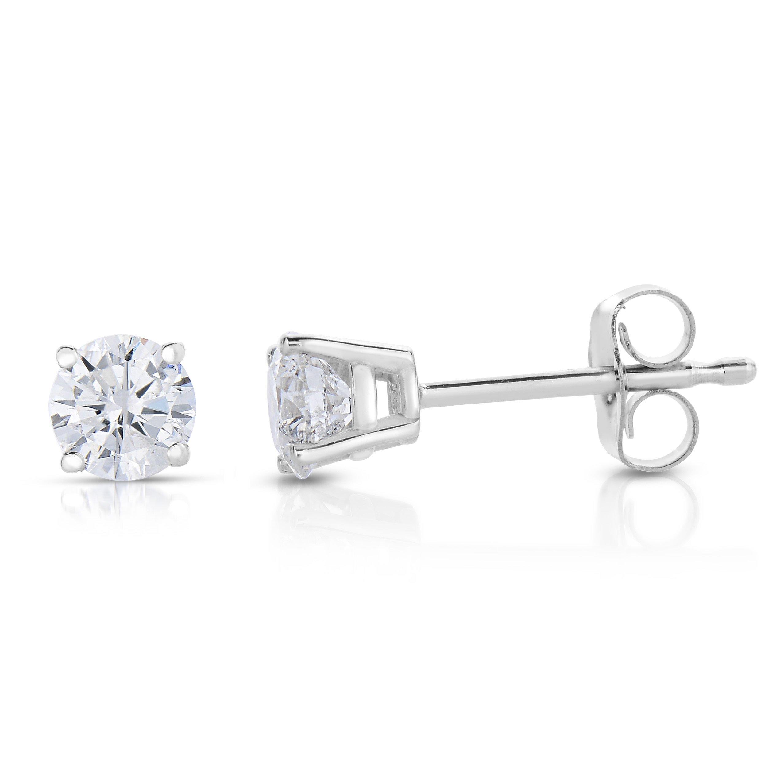 14k White Gold IGI Certified Diamond Stud Earrings (1/3cttw, I-J Color) by Vir Jewels (Image #3)