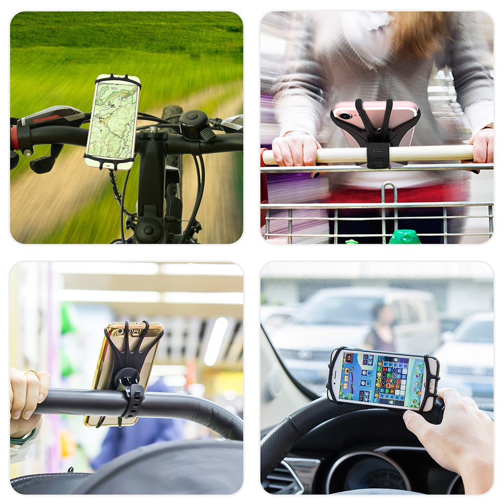 VUP Silicone Bike Phone Mount for iPhone X/8 Plus/8/7 Plus, Galaxy S8 Plus, Nexus, Nokia, LG, Universal Bicycle Motorcycle Handlebars Adjustable Cell Phone Holder, 360° Rotation by VUP (Image #6)