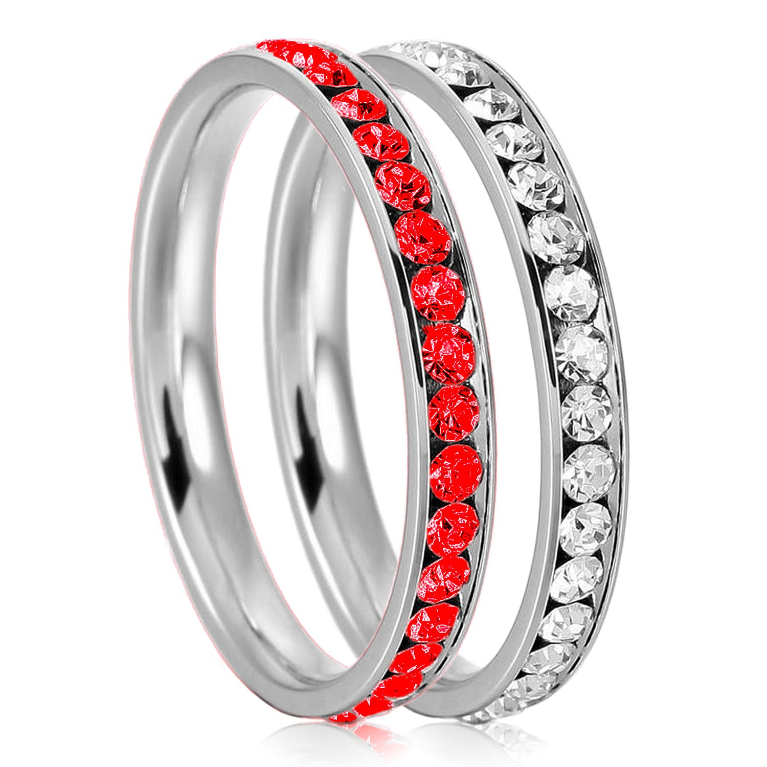 3mm Stainless Steel Eternity Ruby & Clear Color Crystal Stackable Wedding Band Rings (2 pieces) Set, Size 10