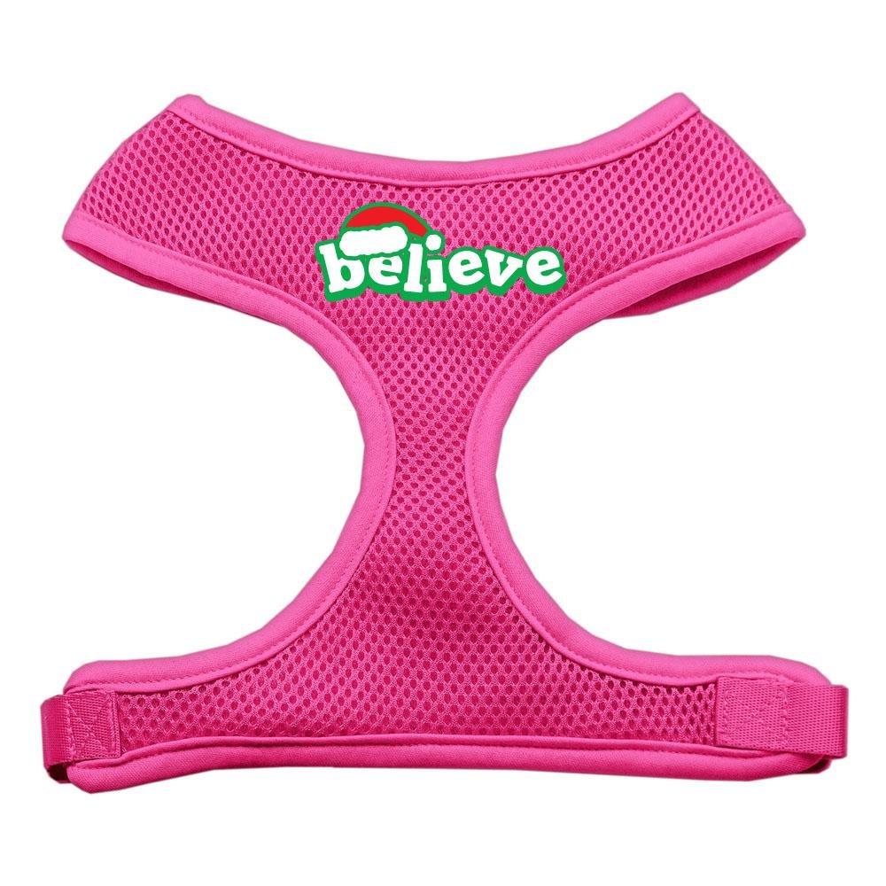Mirage Pet Products Believe Screen Print Soft Mesh Dog Harnesses, Medium, Pink