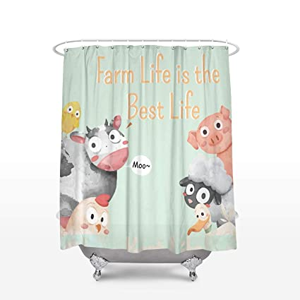 Image Unavailable Not Available For Color Bizwheo Funny Farm Animals Shower Curtain