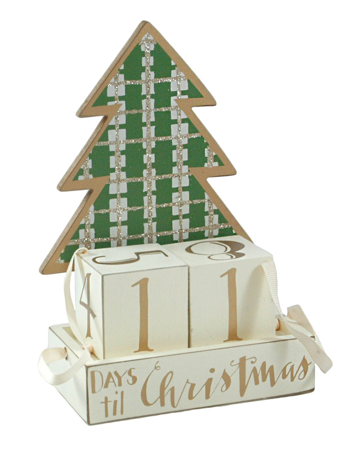 Christmas Countdown Plaid Tree Advent Calendar Wooden Block Set Primitives by Kathy