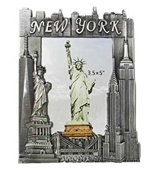 Amazoncom New York Souvenir Metal Pewter Picture Frame With Statue