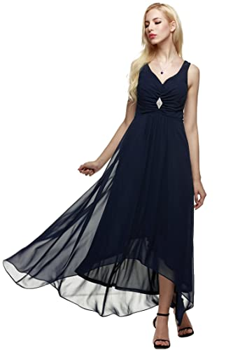 ANGVNS Women's V Neck Sleeveless Spaghetti Straps Ruched Chiffon Maxi Party Evening Formal Gown Dres...
