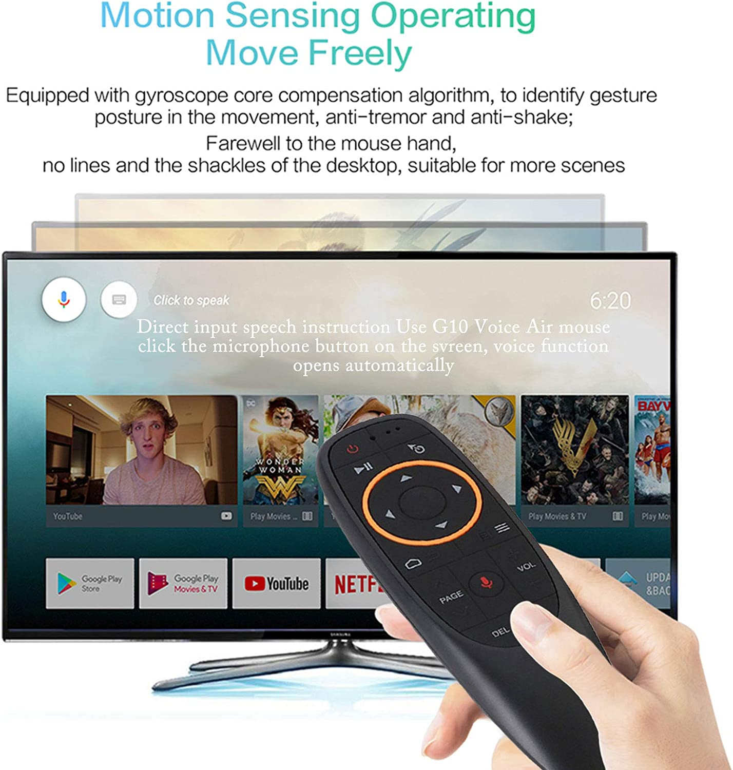 USB Receiver Universal Mini Keyboard Combo Without Backlit Voice Remote Control EASYTONE G10 Air Mouse 2.4G Fly Mouse 6 Axis Gyroscope Sensing Mini Wireless Keyboard for Android TV Box Windows PC