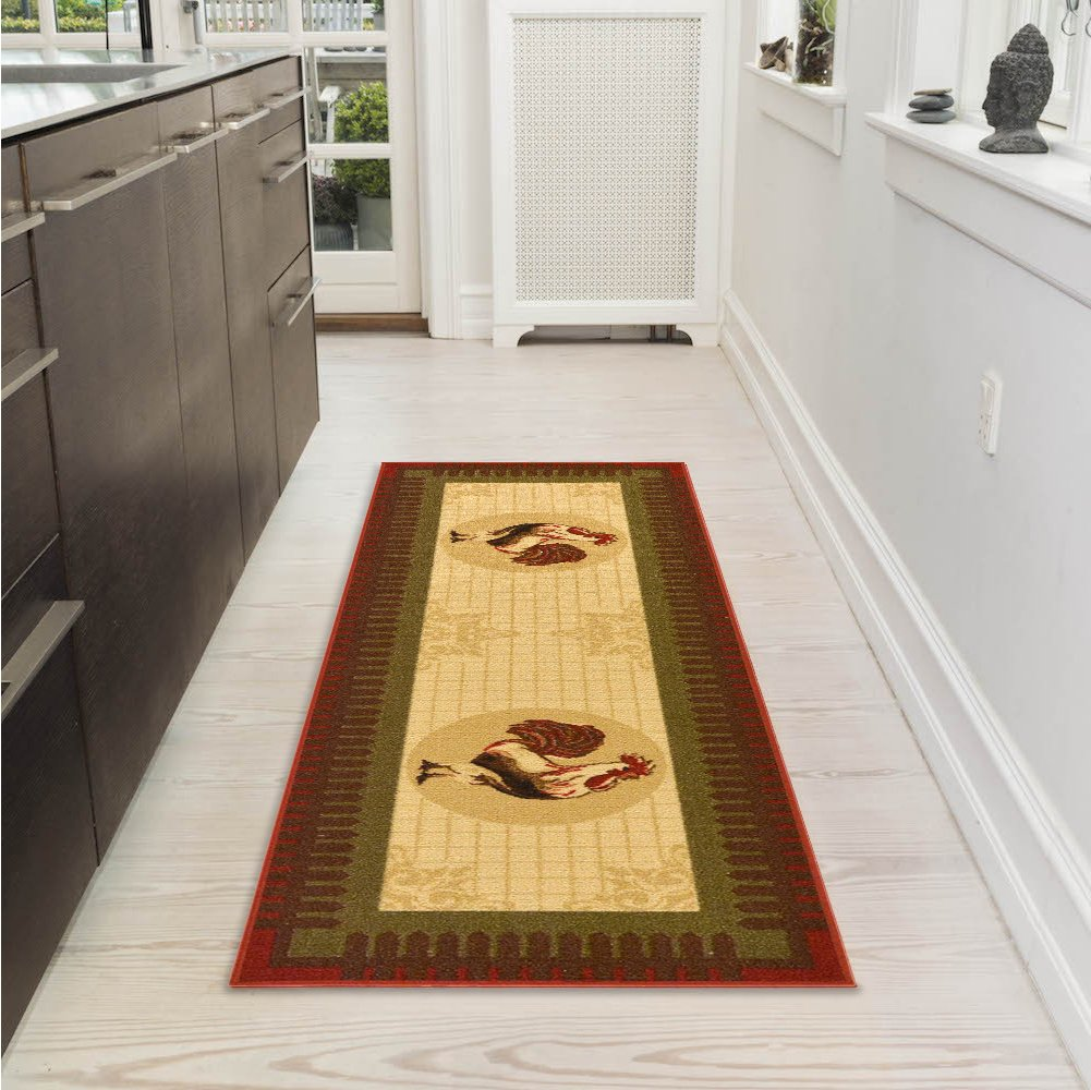 "Ottomanson Siesta Collection Kitchen Rooster Design (Machine-Washable/Non-Slip) Runner Rug, 20"" x 59"", Beige"
