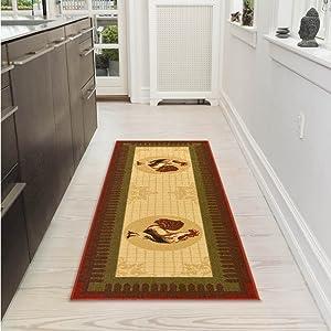 """Ottomanson Siesta Collection Kitchen Rooster Design (Machine-Washable/Non-Slip) Runner Rug, 20"""" x 59"""", Beige"""