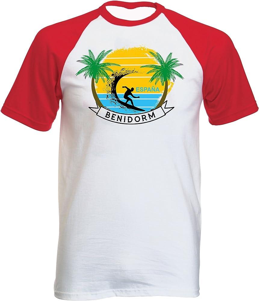 teesquare1st Benidorm Spain Tshirt con Manga Corta roja T-Shirt Size Small: Amazon.es: Ropa y accesorios