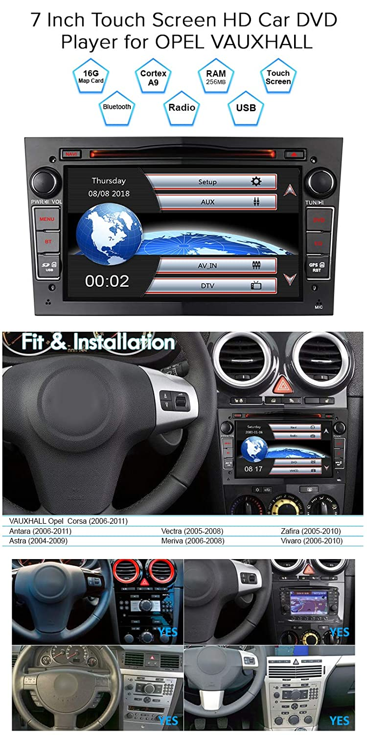IAUCH Double Din Car Stereo Sat Nav for VAUXHALL Opel Corsa Antara Astra Vectra Meriva Support Global Navigation Satellite System SWC Bluetooth RDS Mirror Link DVR 3G and DAB+ Black