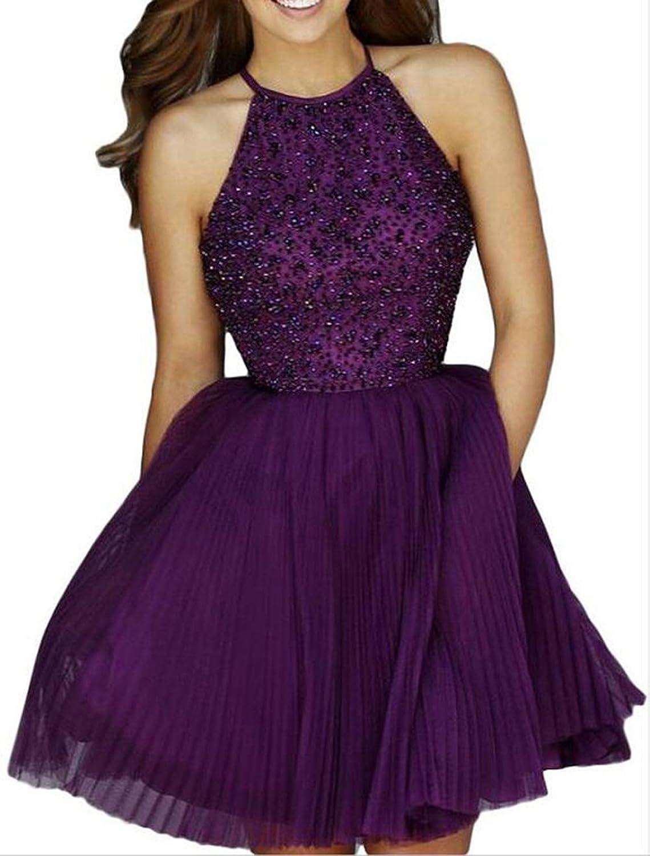 AIJIAYI Women's Beading Keyhole Back Short Tulle Homecoming Dresses Prom Gowns Purple US2