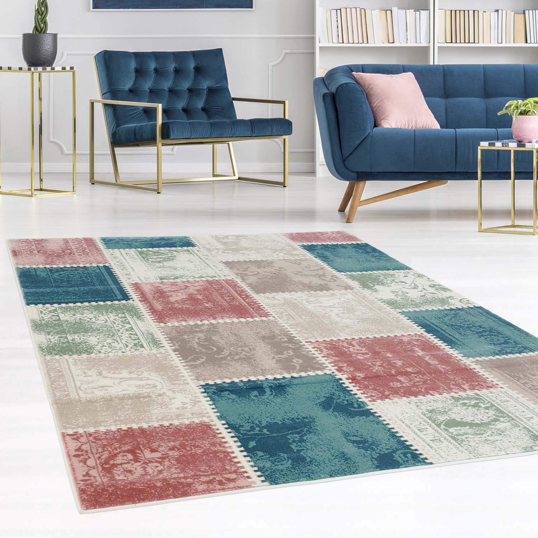 Carpet city Teppich Flachflor Inspiration mit Patchwork Muster in Pastellfarben, Blau, Rosa, Mint, Creme, Beige für Wohnzimmer, Größe  160x230 cm
