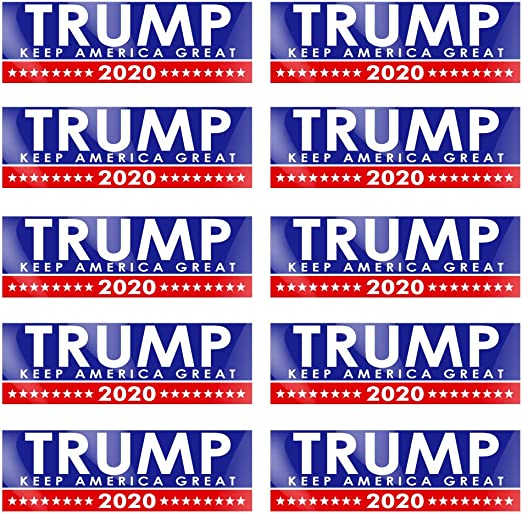 Variety 10 Pack Trump For President Donald Bumper Stickers Limited Time Offer Prime-Products Make America Great 2020 Designs Five Different Sticker Designs
