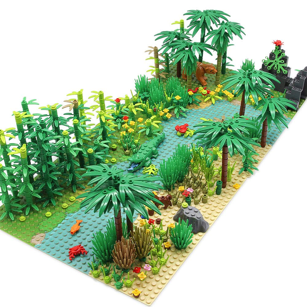 Feleph Forest Garden Building Blocks with 2 Base Plates(10 Inches for Each), Rainforest Plants Tree Flowers Bricks Accessories, Jungle Building Kit Compatible with Major Brands