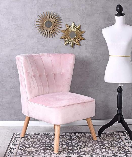 Unbekannt Vintage Sillón Color Rosa Terciopelo Terciopelo ...