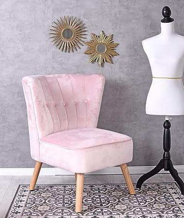 Unbekannt Vintage Sessel Rosa Samt Samtstuhl 50er Jahre Stil Stuhl