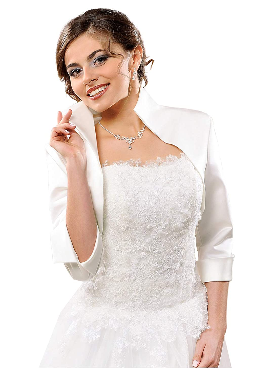 deine-Brautmode Brautjacke Jacke Bolero Hochzeit Braut Hochzeitsjacke Bolerojacke Langarm Pelz Fell