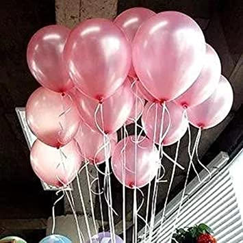AnnoDeel 100 Pcs 10quot Latex Pink Balloons Pure Pearl Helium Wedding Decorations Birthday Party