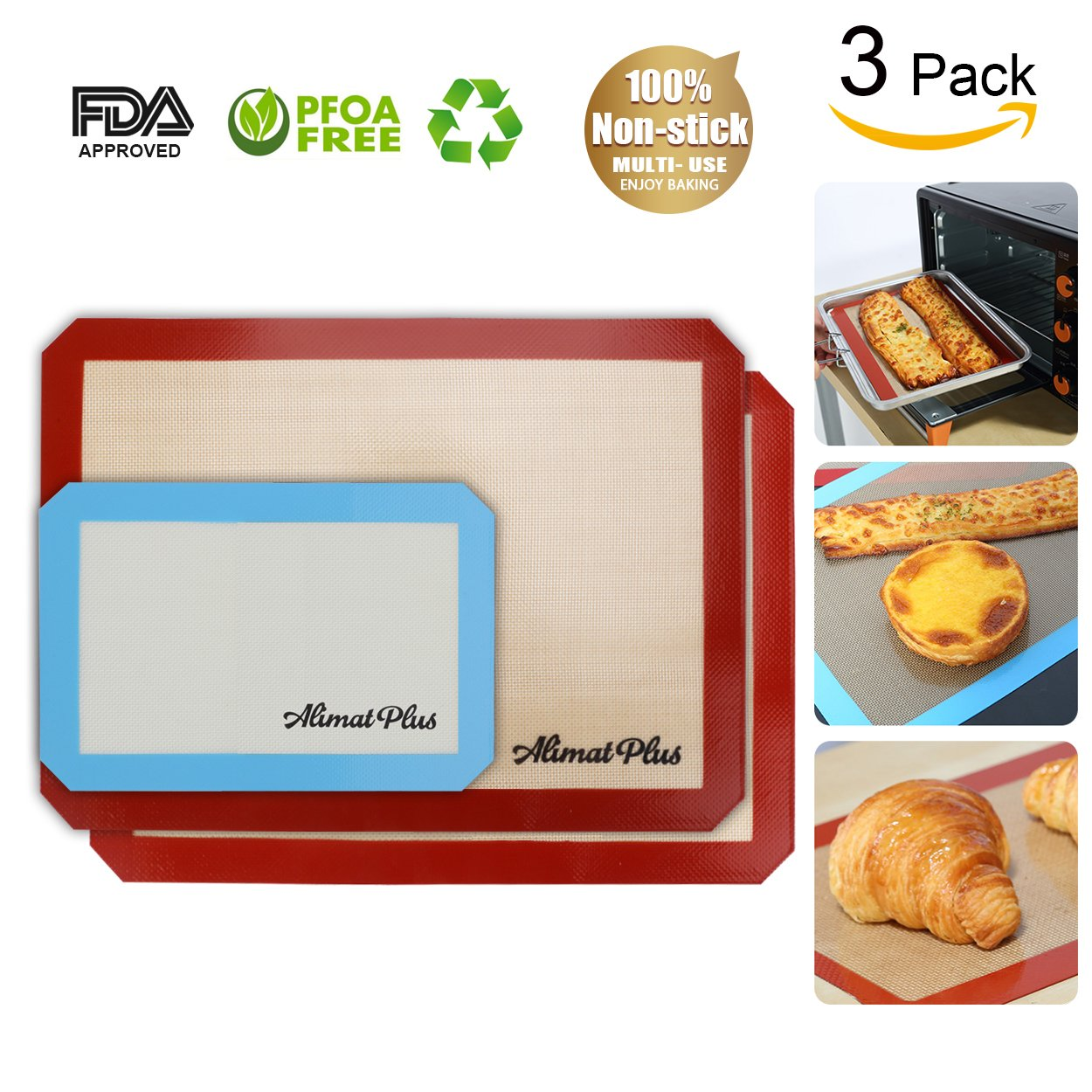 Alimat Plus Silicon Baking mat Cookie Sheet Non Stick Dishwasher Safe Reusable