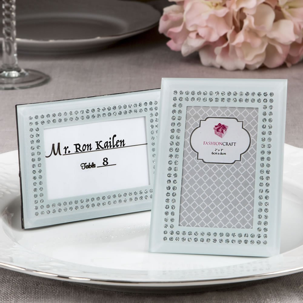 168 White Frosted Glass Picture Frame Placecard Holders by Fashioncraft (Image #1)