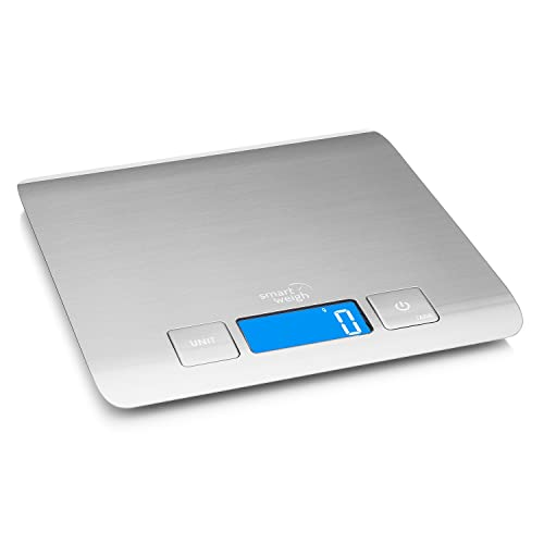 Smart Weigh Digital Food Scale, Multifunctional Electronic Kitchen Food Scale Stainless Steel, Cooking Scale for Food and Baking Ingredient Weight, 11 Pound / 5 Kilogram Capacity (Batteries Included)