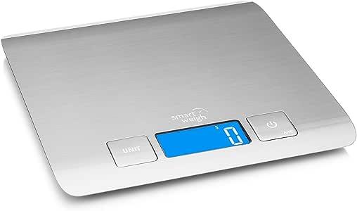 Smart Weigh 11 lb/15 kg Báscula Electrónica Multifuncional para Cocina y Alimentos Plataforma de Acero Inoxidable, Con Gran Pantalla LCD, Color Plata: Amazon.es: Hogar