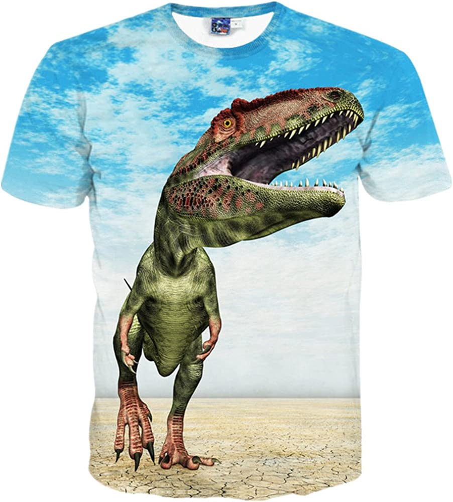 Fzjy Wnx Dinosaur and Rainbow Youth Crewneck Short-Sleeved of T-Shirts For Boys