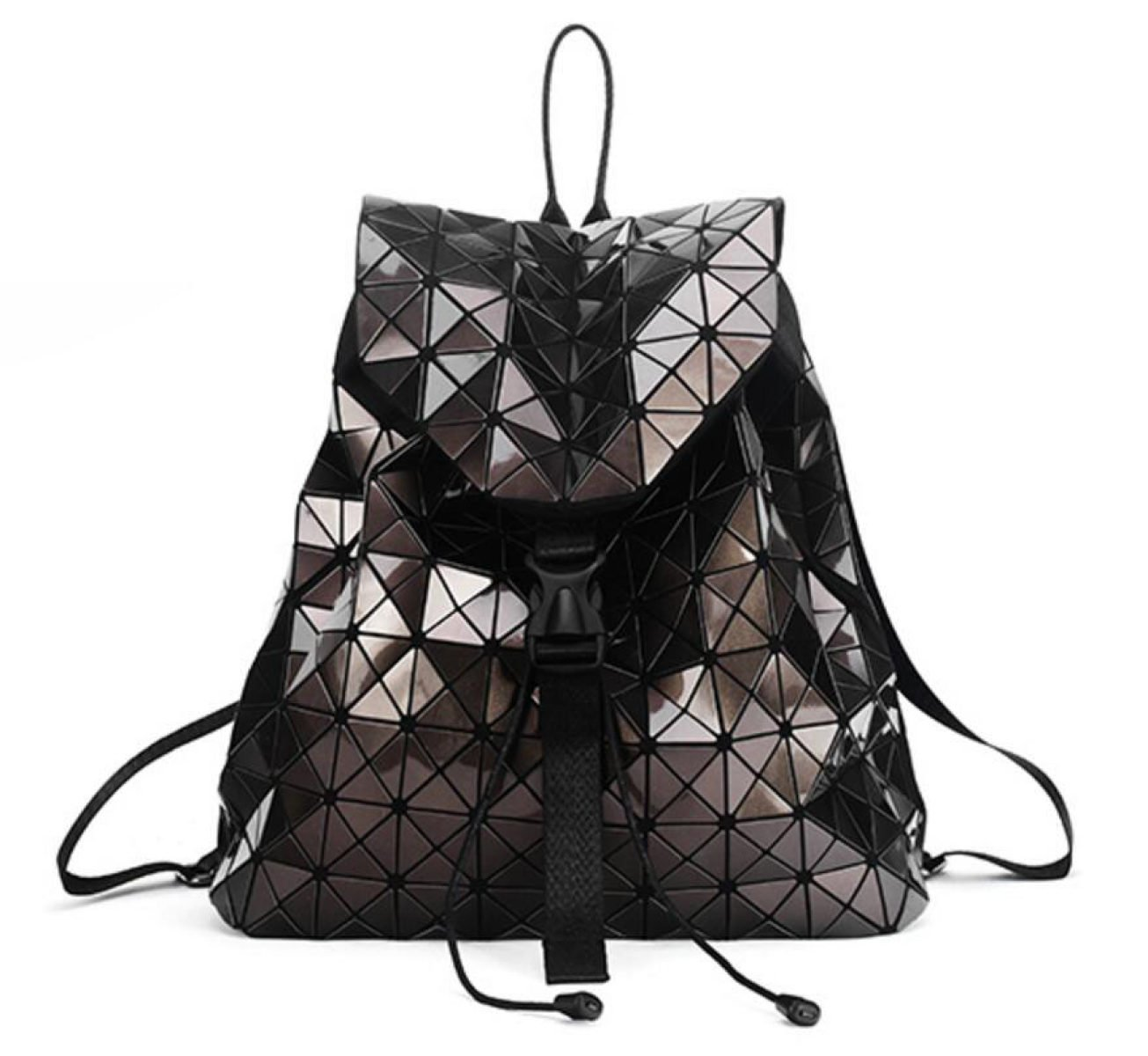 Brown Geometric Laser Ladies Backpack Travel Shoulder Bag Briefcase Backpack,Black